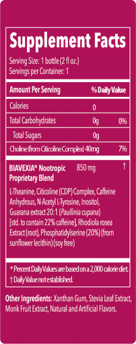 I Am Focused Supplement Fact Table